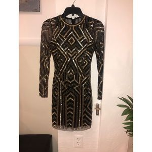 cdd13641c1 Gianni Bini Dresses - Gianni Bini Black and Gold Kim Sequin Dress